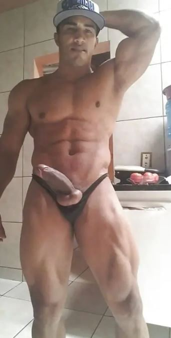this is a picture of a man's huge cock in a selfie type of format around his rest room