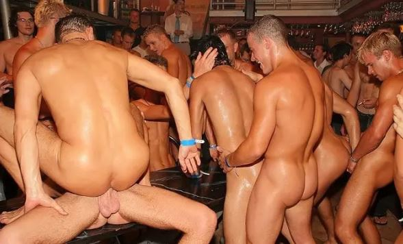 this is a picture of gay men having sex at a party